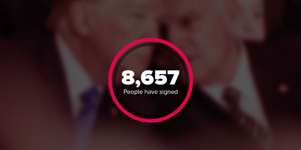 "Screenshot of a petition counter showing ""8,657 people have signed"""