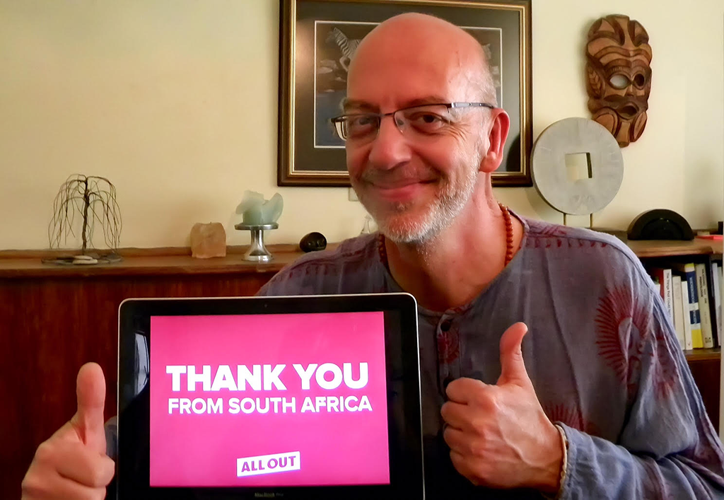 Hendrik sends a thank you message from South Africa.